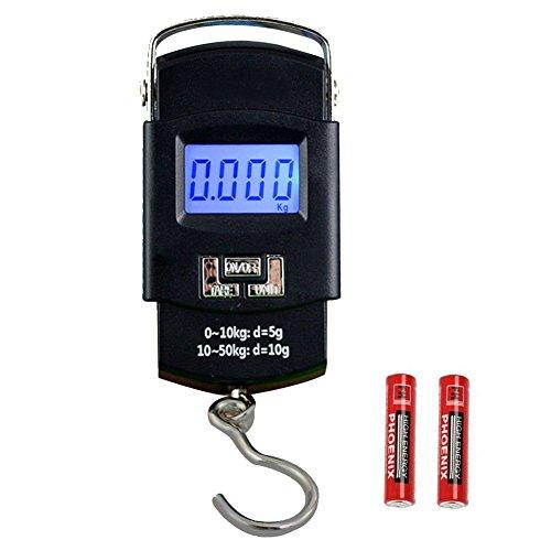 HANWELL Bilancia Digitale Pesa Bagaglio Valigie 50kg/110lb con Sensore di Temperatura | Display LCD | Funzione Zero e Tare,Batteria Inclusa