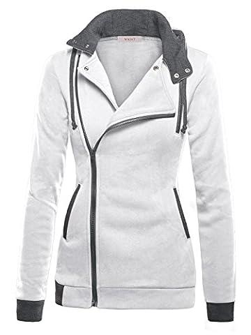 WAJAT Femme Veste Polaire pour Printemps avec capuche Zip Blouson Blanc S