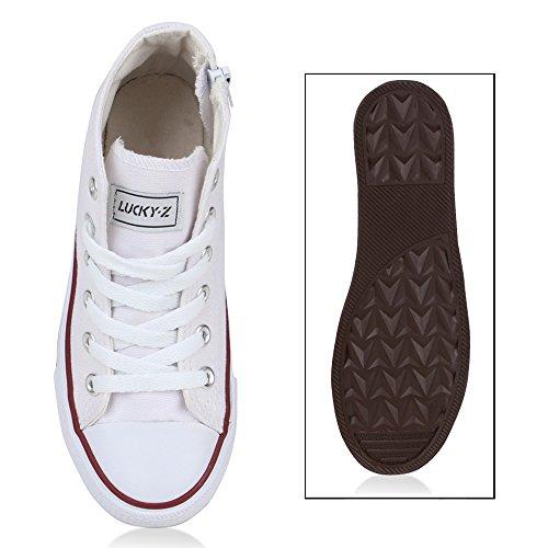 Kinder Sneakers High Top Sportlich Schnürer Trend Schuhe Weiß