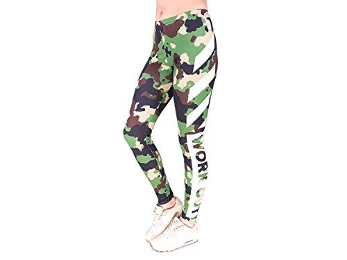 Alsino Leggings Gym Leggins für Damen - One Size Einheitsgröße - All-Over-Print Motive, Work Out Tarn (LEG-153)