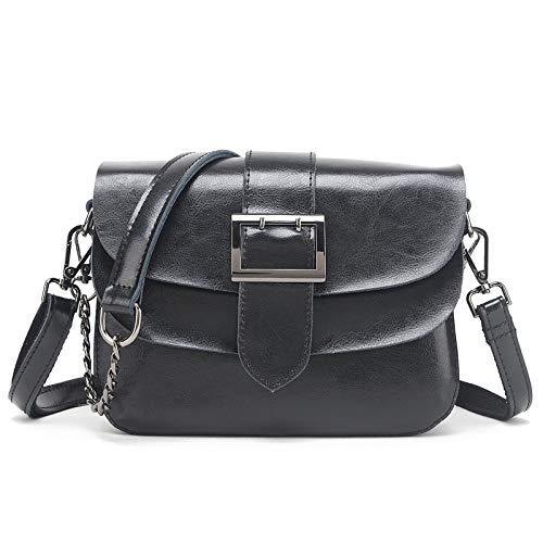 Bedolio Handtasche Retro Öl Wachs Leder Kette kleine quadratische Tasche Schulter Schulter Diagonale Mehrzweck kleine Tasche, schwarz -