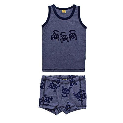 CeLaVi Baby Jungen Unterwäsche Set, Tanktop und kurze Hose, Größe: 90 cm, Alter: 18-24 Monate, Traktor Muster, Farbe: Marineblau, - Jungen Traktor Unterwäsche