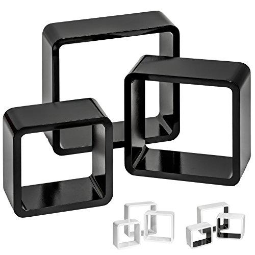 TecTake Lot de 3 étagères cubes murales livres salon cubes lounge CD - diverses couleurs au choix - (Noir | No. 401590)