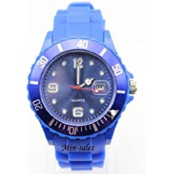 AccessoriesBySej 24 Colours - DARK BLUE QUARTZ SILICON /RUBBER STYLE JELLY SPORT WRIST WATCHES UNISEX WITH DATE