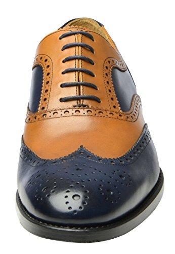 SHOEPASSION.com , Chaussures de ville à lacets pour homme Marron-Bleu