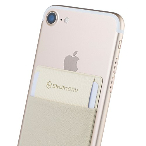 Smartphone Kartenhalter mit Clip, SINJIMORU Smart Wallet Kartenfach mit Verschluss-Clip / aufklebbare Mini Geldbörse mit Zugband für iPhones und Androids. Sinji Pouch Flap, Beige. Beige