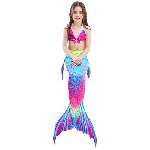 Das beste niedlich Mädchen Meerjungfrauen Bikini Kostüm Meerjungfrau Schwimmanzug Badeanzüge Tankini Kostüm Cosplay (Die Gefahr, T-shirt Ein Schwarzes)