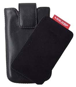 DigiEtui Ledertasche für Apple iPhone/ 3G/4G/4S iPod Touch (echtes Nappa-Leder, mit patentiertem LCD-Pad) schwarz