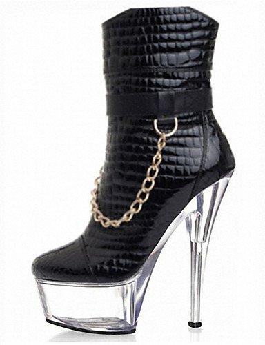GGX timu Tagebuch 15cm Schlangenleder Muster Low Boot Damen Stiefel Frühjahr/Herbst/Winter Heels/Fashion Boots Patent Leder/Individuelle, black/white-us5 / eu35 / uk3 / cn34