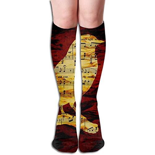 Gped Kniestrümpfe,Socken Tube High Knee Sock Boots Crew Musical Bird Compression Socks Long Sport Stockings Length - Cats Musical Kostüm Produkte