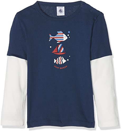 Petit Bateau Baby-Jungen Langarmshirt Tee Shirt ML 28229, Mehrfarbig (Medieval/Marshmallow 76), 86 (Herstellergröße: 18m/81cm)