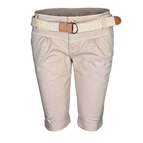 Fresh Made Damen Short Sommer kurze Hose Chino Shorts inkl. Bermuda Gürtel B458 Sand