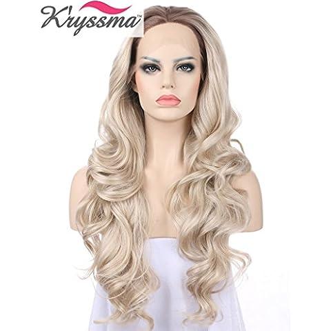 K 'ryssma Ombre Golden Blonde Pelucas Para Mujeres Blanco Marrón raíces largo ondulado realista Encaje frontal peluca de aspecto natural resistente al calor mejor pelo