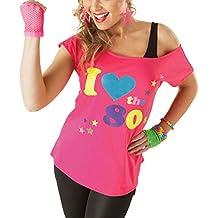 Mujer I LOVE THE AÑOS 80 POP STAR Elegante Retro Camiseta Mujer disfraz top camisetas