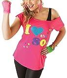 Damen I Love The 80er Jahre Pop Lust Auf Sterne Retro T-shirt Damen Verkleidung Oberteil T-shirt - Rosa, Medium (EU 38-40)