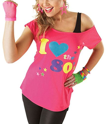 Damen I Love The 80er Jahre Pop Lust Auf Sterne Retro T-shirt Damen Verkleidung Oberteil T-shirt - Rosa, XX-Large (EU 44-46)