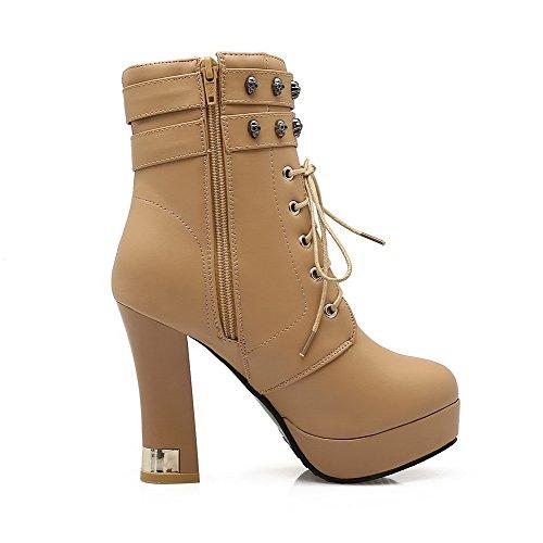 AgooLar Damen Reißverschluss PU Hoher Absatz Rund Zehe Stiefel, Aprikosen Farbe, 38
