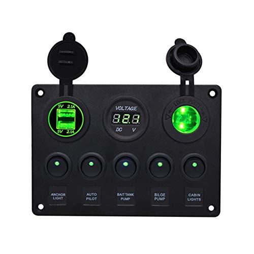Tree-on-Life Dual USB Auto Fahrzeug Ladegerät LED Voltmeter 12V Steckdose mit 5 Kippschalter Panel für Auto Boot Marine RV Yachten -