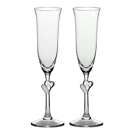 Stölzle Lausitz 175 ml Lead Free Crystal L´Amour Champagne Flute Satin Etched Heart Glass