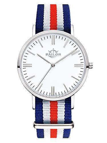 Sailor Damen Herren Uhr Classic Analog Quarz mit Nylon Armband Marine blau-weiß-rot, SL101-1014-40