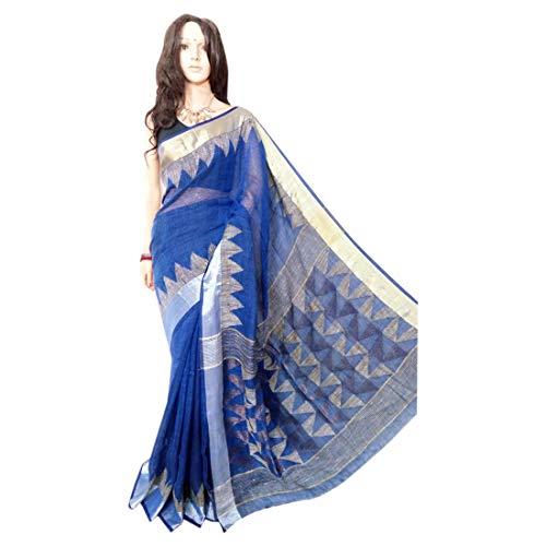 ETHNIC EMPORIUM Indisches ethnisches Leinen Jamdani Saree Sari Blue Colored Fancy Damenkleid 100a -