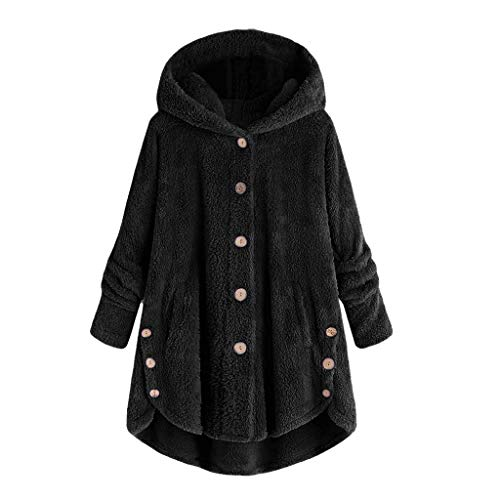 MRULIC Damen Winter Wärme Softshell Pullover Flauschige Kapuzenpullover Mantel Fleece Fell Hoodie Sweatshirt Mantel Parka (EU-44/CN-2XL, A-Schwarz) - Türkisch-fell