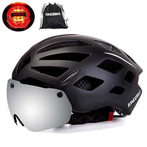 KING BIKE Fahrradhelm mit Abnehmbaren Schutzbrille Schild Visier Damen Herren UV400 Schutz Kann kann über die Brille 56-63cm Gelb