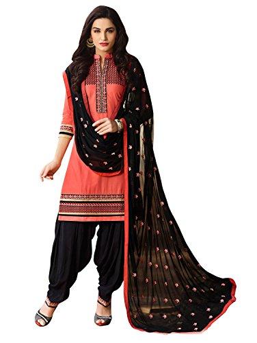 KVSFAB Women\'s Cotton patiala salwar suit,Peach & Black[KVSSK5465JOD_4]