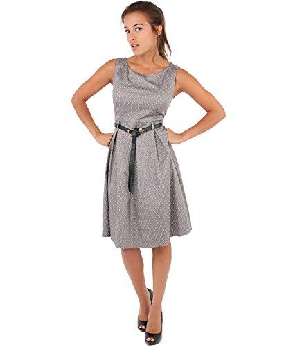 KRISP® Femme Robe Pin-Up 50s Rockabilly Imprimée Rétro Vintage Moka (7045)