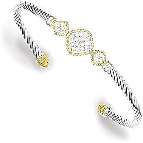 Sterling Silver Vermeil CZ Rope design Bangle