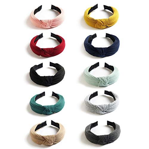 DRESHOW 10 Packung Breite Stirnbänder Knoten Turban Stirnband Haarband Elastic Plain Mode Haarschmuck für Damen und Mädchen
