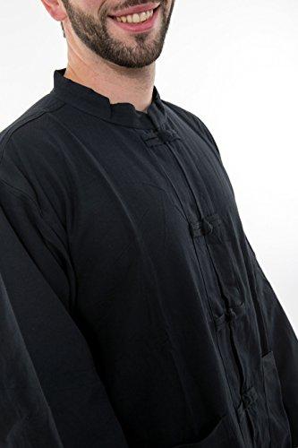 Fantazia Herren Freizeit-Hemd Schwarz - Schwarz