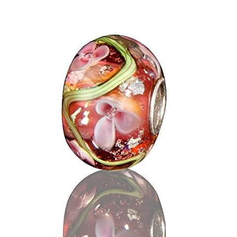 Andante-Stones 925 Sterling Silber Glas Bead Charm SEALIFE (Purpur-Rot mit rosa-weißen Blüten) Element Kugel für European Beads + Organzasäckchen
