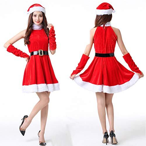 Kostüm Fraulein - GSDZN - Damen Kostüm Fräulein Santa Weihnachten Weihnachten Frauen Erwachsene Kostüm Cap Kleid Gürtel, Einheitsgröße, F,Red