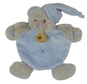 Babynat - Doudou Ours plat gris et bleu - BN659 - Les doudous câlins - Peluche bébé semi - plat - Taille : 20 cm