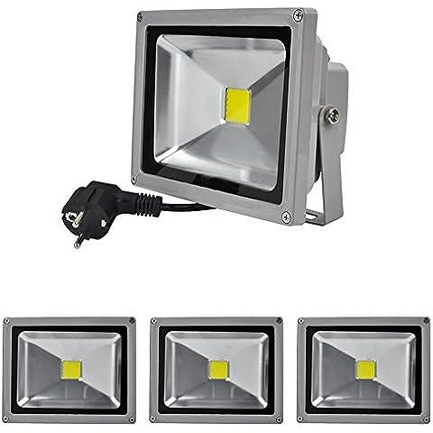 4x 10W/20W/30W/50W/100W Blanco Frío LED Foco Proyector Luz, Foco Proyector con Iluminación LED (20 Watts)