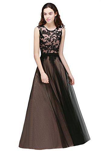Damen Elegant Spitzen Abendkleid Brautjungfer Cocktailkleid Tüll a linie Langes KleidRosa 32