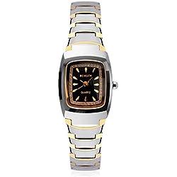 binlun Damen Petite länglich 2straffen vergoldet Wolfram Stahl Armbanduhr für kleine Hand, Breite 11mm