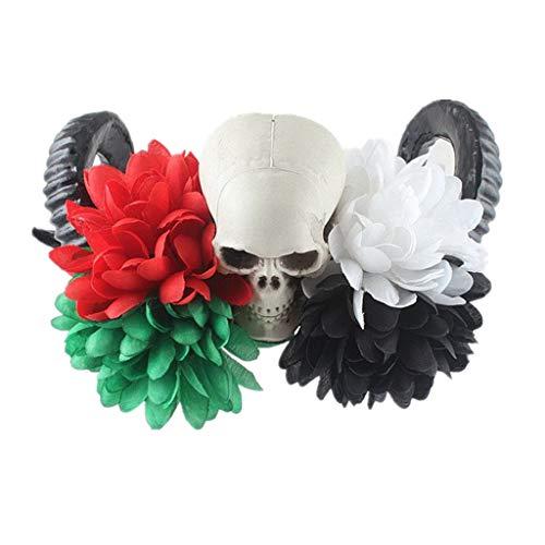 Und Spinne Fliege Kostüm - liaobeiotry Damen Handgefertigtes Dämonenhörnchen Stirnband künstliche Rosen Blume Haarreif Spinnen Fliege Totenkopf Halloween Cosplay Kostüm Kopfbedeckung a