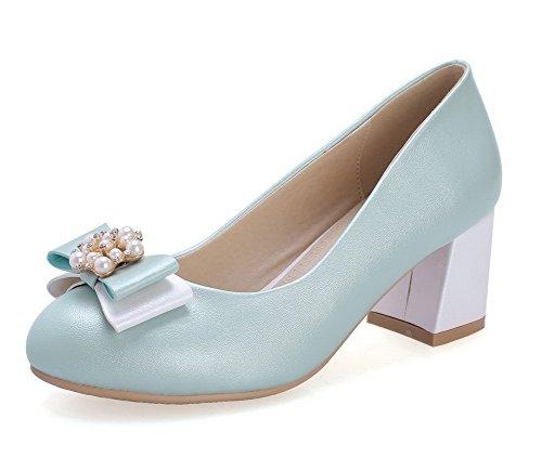 AllhqFashion Femme Couleur Unie Pu Cuir à Talon Correct Rond Tire Chaussures Légeres Bleu