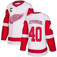 Zetterberg # 40 Camiseta de Manga Larga para Hombres de Hockey sobre Hielo Jersey de Hockey sobre Hielo Juego de Equipo Uniforme de Entrenamiento Traje Sudadera Jersey Real S-XXXL