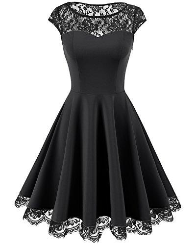 Homrain Damen 1950er Elegant Spitzenkleid Rundhals Knielang festlich Cocktail Abendkleid Black XL
