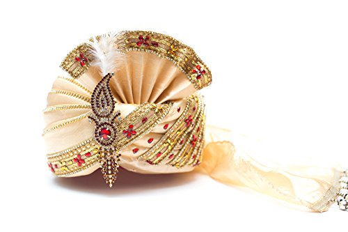 Wedding Groom Head Safa Turban - Velvet (Golden, 22)