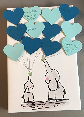 Elefant Leinwand Herzen ideales Geschenk, Gästebuch, Erinnerung, Deko, Idee, Andenken zur Geburt, Taufe, Babyparty, Baby Shower in Blau für Jungen