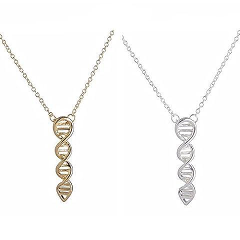 DNA Necklace - Biochemistry Molecule Chemical Structure Pendant (Silver Tone)