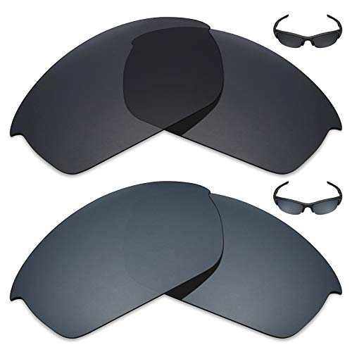 MRY 2Paar Polarisierte Ersatz-Gläser für Oakley Flak Jacket Sonnenbrille-Reiche Option Farben, Stealth Black & Black Iridium