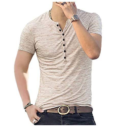 VITryst Men's Regular Botton Front Fit Short-Sleeve Summer Henley Shirt Tees Khaki S - Short Sleeve Striped Khaki