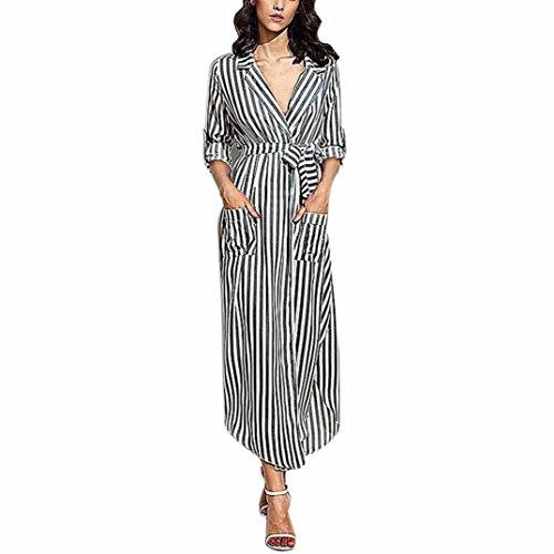Xjp Women's Deep V Neck Long Sleeve Striped Maxi Dress with Belt (M, Schwarz)
