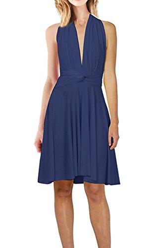 Damen Frauen Multi-tragen Abendkleid Brautjungfer Knielänge Kleid Multiway Kurzes Kleider Elegant Sommer Verbandkleid Trägerkleid Strandkleid Cocktailkleid Partykleid 38 / M, Navy Blau -
