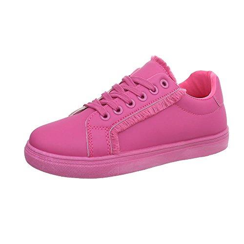 Ital-Design Sneakers Low Damen-Schuhe Schnürsenkel Freizeitschuhe Pink, Gr 39, G-91- (Schuhe Zumba Pink)
